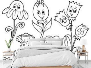 Coloring book happy cartoon flowers set 1