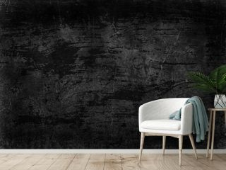 black old wall cracked concrete background / abstract black texture, vintage old background