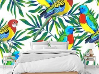 Pattern with beautiful parrots and tropical leaves. tropical Birds background Vector Illustration.