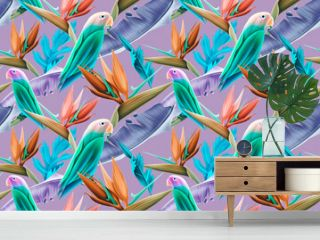 Seamless pattern with Parrots and Tropical Leaves.