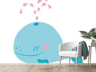 Cute funny whale and pink hearts. Vector illustration, isolated on a white background. Scandinavian style flat design. Concept for children print.