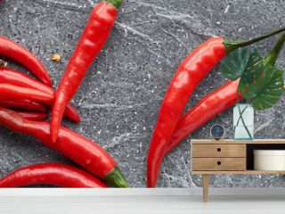 Close-up on red hot chili peppers, fresh and dry, on grey stone,
