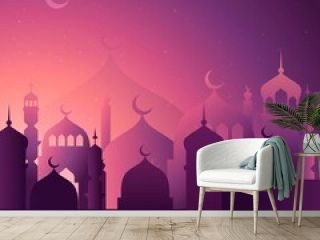 Isra Miraj Illustration Paper Style With Moon_6