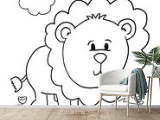 Cute Lion Cub Coloring Book Page Vector Illustration Art