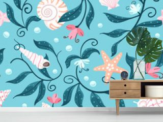 Orange and white starfish, various shaped seashells and sea weed on an aqua blue background. Seamless repeated surface vector pattern design perfect for swimming suites and beach wear.