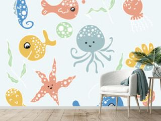 Drawing of marine life fish, octopus, jellyfish, starfish, whale, algae. Cartoon style. Hand drawn vector illustration. Design for T-shirt, textile and prints.