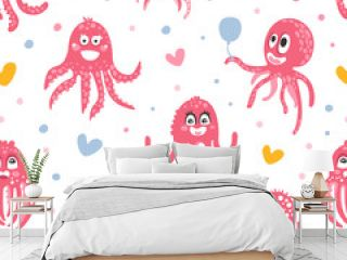 Cute Pink Octopus Seamless Pattern Design, Funny Sea Creature Character Background, Wallpaper, Textile, Packaging Vector Illustration