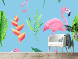 Seamless pattern with hand-drawn flamingo and blossom tropical plants.
