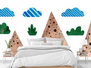 Mountains, grass, bushes.Set of watercolor illustrations isolated on a white background. The objects of the natural landscape for independent design. Childish, cartoon style. Cute sticker.