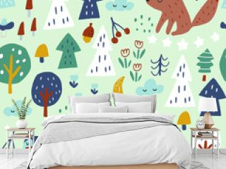 Woodland seamless pattern with bear, fox, owl and squirrel. Trendy woodland texture perfect for textile, fabric, apparel, wallpaper.Vector illustration
