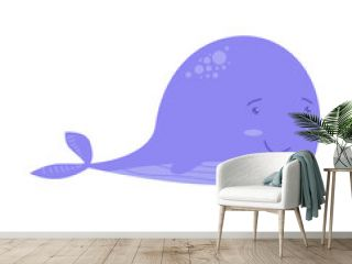 Cute cartoon whale isolated on white transparent background.