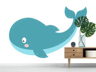 vector illustration with cartoon whale isolated on white