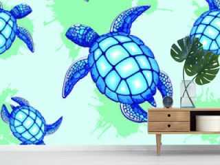 Sea Turtle Blue and Turquoise Vector Seamless Repeat Pattern