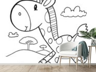Cute Safari Giraffe Coloring Book Page Vector Illustration Art