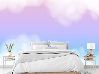 Colorful background of abstract sunset sky with puffy clouds in bright blue and purple