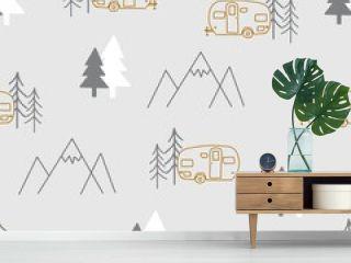 Light Grey Camper Print Repeating Pattern Seamless
