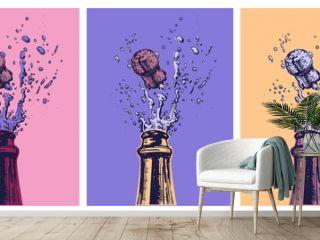 Hand drawn Illustration of Champagne explosion. Hand drawn Illustration of Champagne explosion. Vector Illustration. Pop Art. Modern art