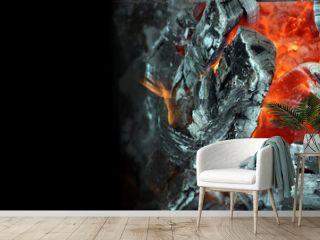 Coals and flames. Hot coals texture background. copy space. selective focus