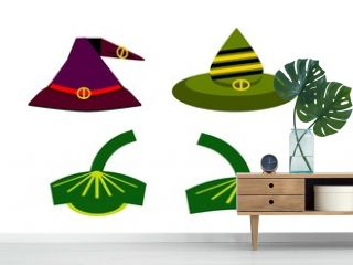 Hat, cap, headdress for characters for halloween day, for fairytale heroes, color illustration on a white background for design