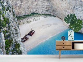 Shipwreck bay zakynthos, beach ship in Greece