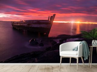 Sunrise over the port ship wreck