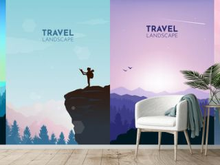 Man watches nature, climbing to top, friends going hike, support of friends. Landscapes set. Travel concept of discovering, exploring, observing nature. Hiking. Adventure tourism. Illustrations set