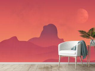 Desert canyon landscape at dusk, gradient illustration