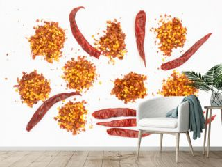 dried red pepper flakes isolated on white, top view