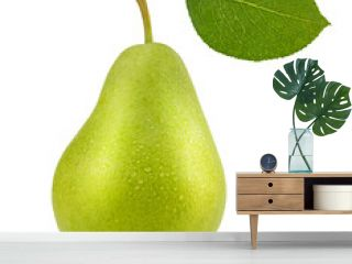 Close up of green ripe pear with leaf isolated on white background