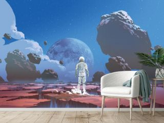 A spaceman standing alone on a deserted planet, digital art style, illustration painting
