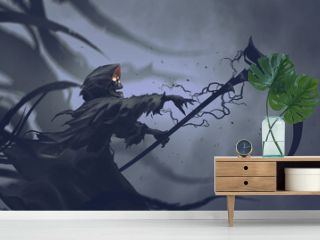 The Death as know as Grim Reaper casts black magic on the scythe, digital art style, illustration painting