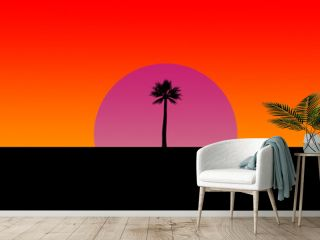 sunset and sunrise with Tree, blank gradient orange and red sky