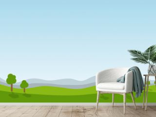 landscape cartoon scene with green trees on hills and summer blue sky background with copy space