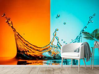 Splash on orange and blue background
