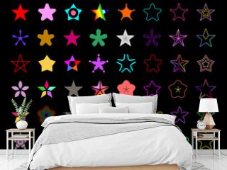 Colored isolated on a black background Star Shapes vector icon set. Large bundle of five-pointed star decorative symbols.