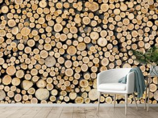 Pile of firewood seamless texture or background