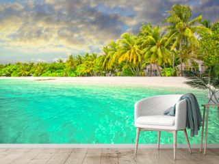 Amazing island beach. Tropical landscape of summer scenery, white sand with palm trees. Luxury travel vacation destination. Exotic beach landscape. Amazing nature, relax, freedom nature template