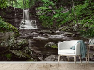 Natural Waterfall in a forest with green foliage surrounded by large rocks along a flowing river - Long exposure photography - camping hiking - forest landscapes -  trees with green leaves