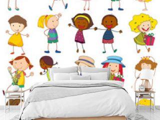 Set of different doodle kids cartoon character