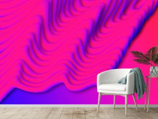 A beautiful abstraction with pink liquids on a gradient background of purple and blue colors. A 3D image with an uneven landscape surface.
