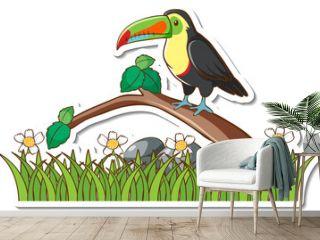 A toucan bird standing on a branch sticker