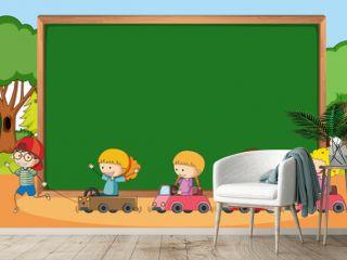 Empty blackboard in park scene with many kids doodle cartoon character