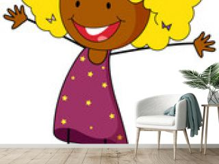 A happy girl doodle cartoon character isolated