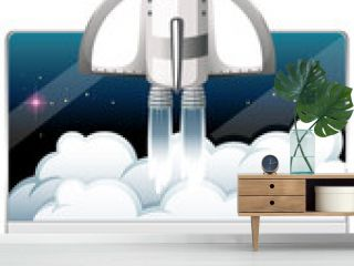 Computer monitor with spaceship on white background
