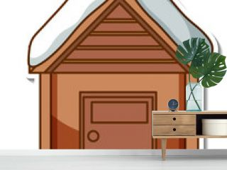A sticker template with cottage house isolated