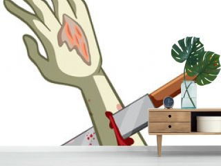 Stabbed zombie hand with knife