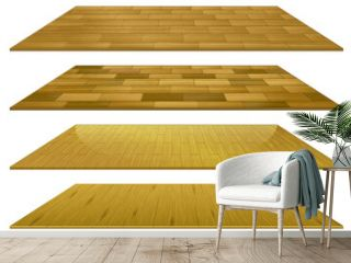 Set of different brown wooden floor tiles isolated on white background