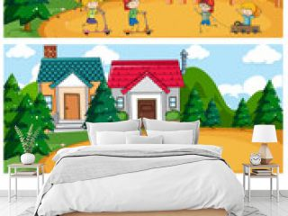 Playground scene set with many kids doodle cartoon character isolated