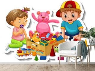 Sticker template with children playing with their toys on white background