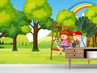 Kids leaning online with tablet on swing chair
